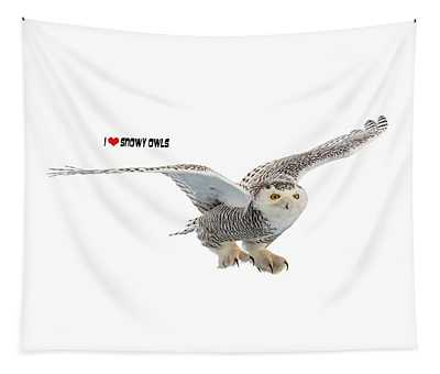 I Love Snowy Owls T-shirt Tapestry