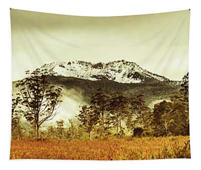Ice Covered Mountain Panorama In Tasmania Tapestry