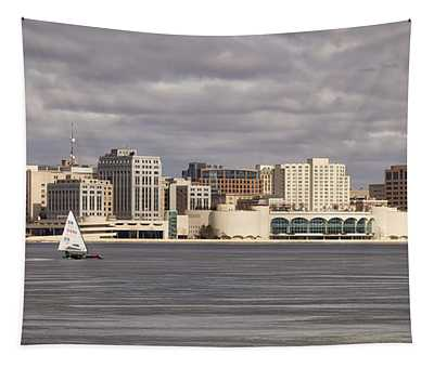 Ice Sailing - Lake Monona - Madison - Wisconsin Tapestry