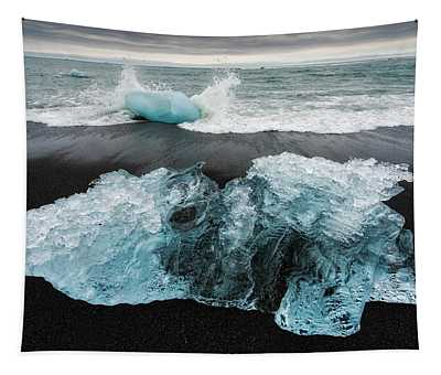 Tapestry featuring the photograph Iceberg And Black Beach In Iceland by Matthias Hauser