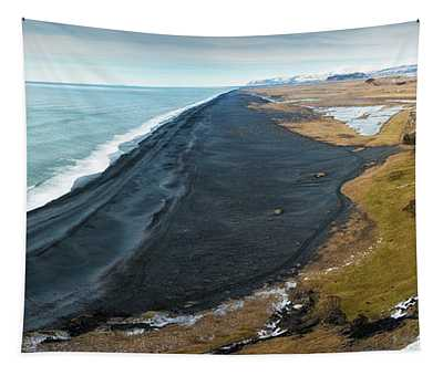 Iceland Coast And Black Beach Panorama Tapestry