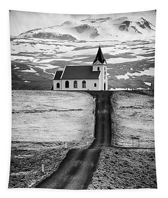 Iceland Ingjaldsholl Church And Mountains Black And White Tapestry