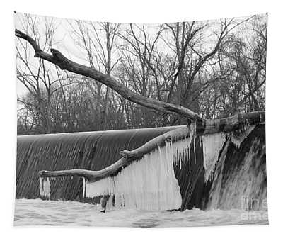 Icicle Laden Branch Over The Waterfall Tapestry