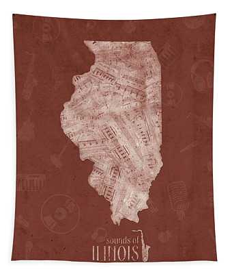 Illinois Map Music Notes 5 Tapestry