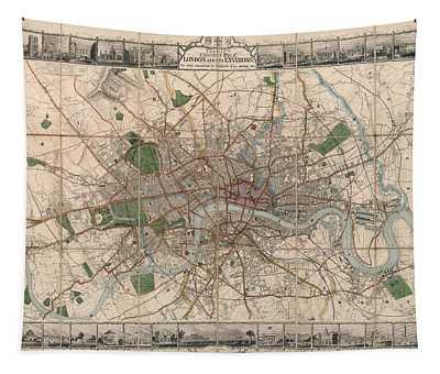 Illustrated Plan Of London And Its Environs - Map Of London - Historic Map - Antique Map Of London Tapestry