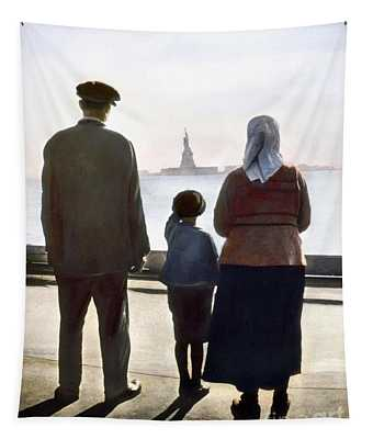 Tapestry featuring the photograph Immigrants: Ellis Island by Granger
