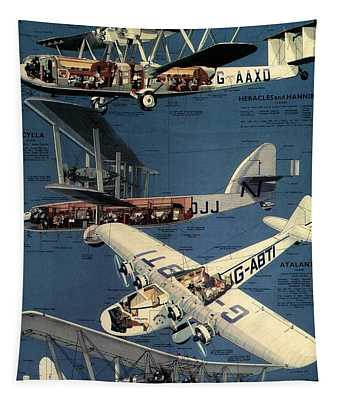 Imperial Airways - The Greatest Air Service In The World - Retro Travel Poster - Vintage Poster Tapestry