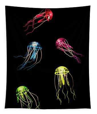 In Colours Of Swirling Jellyfishes  Tapestry
