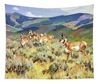 In The Foothills - Antelope Tapestry