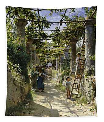 In The Shadow Of An Italian Pergola Tapestry