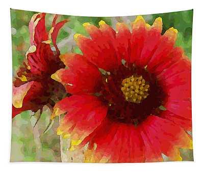 Tapestry featuring the digital art Indian Blanket Flowers by Shelli Fitzpatrick