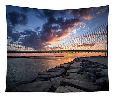 Indian River Inlet And Bay Sunset Tapestry