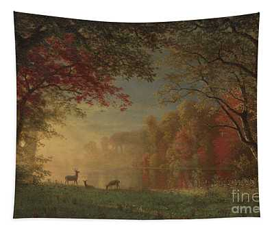 Indian Sunset Deer By A Lake Tapestry
