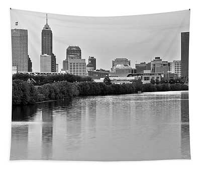 Indianapolis Charcoal Panoramic Tapestry