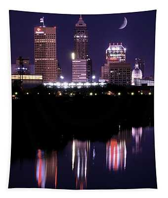 Indianapolis Quarter Moon Night Tapestry