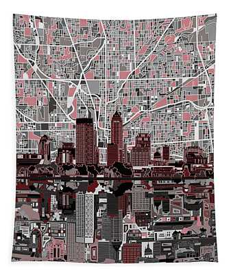Indianapolis Skyline Abstract 1 Tapestry