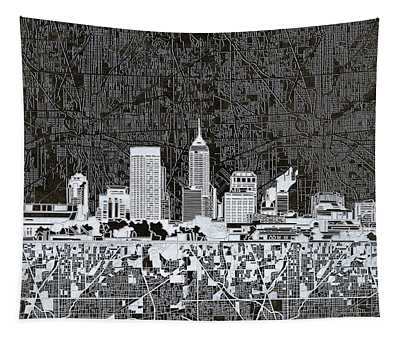 Indianapolis Skyline Abstract 10 Tapestry