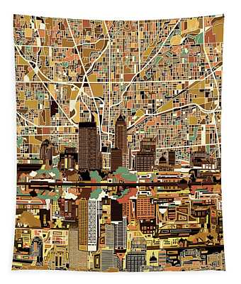 Indianapolis Skyline Abstract 2 Tapestry