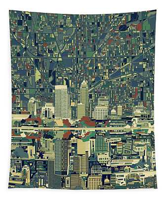 Indianapolis Skyline Abstract 3 Tapestry