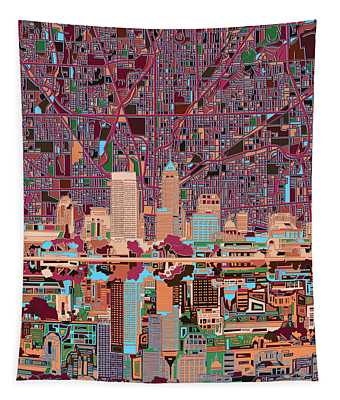 Indianapolis Skyline Abstract 4 Tapestry