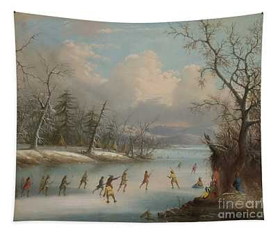 Indians Playing Lacrosse On The Ice, 1859 Tapestry