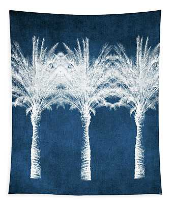Indigo And White Palm Trees- Art By Linda Woods Tapestry