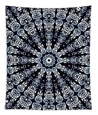 Tapestry featuring the digital art Indigo Flow Blue Kaleidoscope by Joy McKenzie