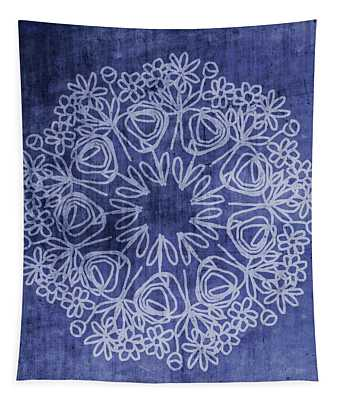 Indigo Mandala 1- Art By Linda Woods Tapestry