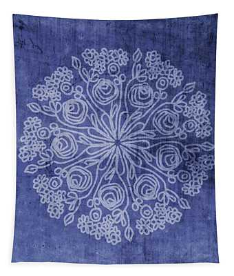 Indigo Mandala 2- Art By Linda Woods Tapestry