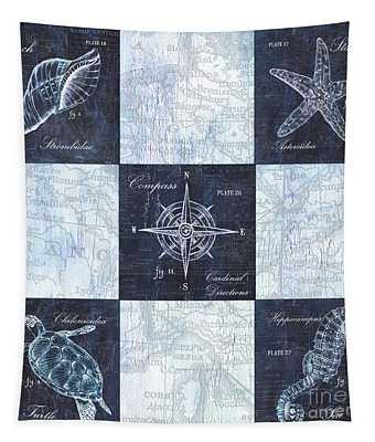 Indigo Nautical Collage Tapestry