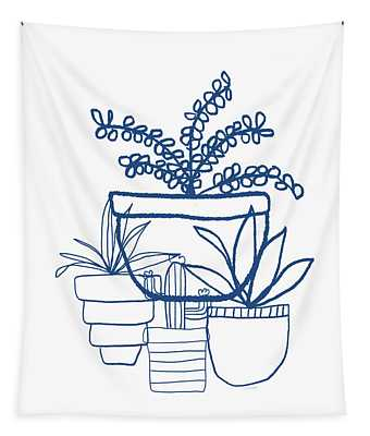 Indigo Potted Succulents- Art By Linda Woods Tapestry