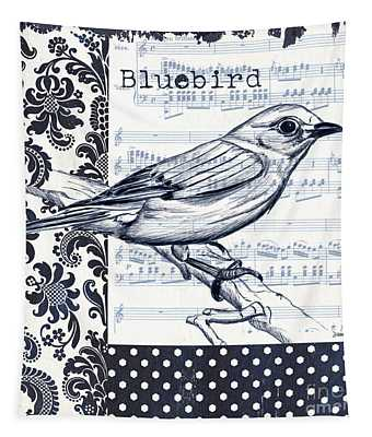 Indigo Vintage Songbird 1 Tapestry