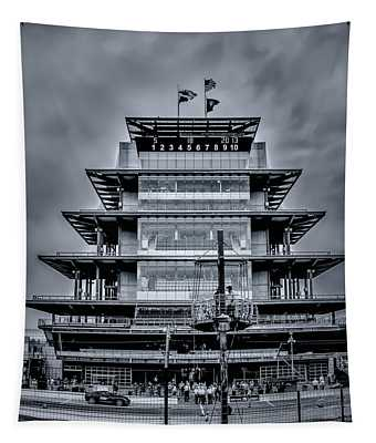 Indy 500 Pagoda - Black And White Tapestry