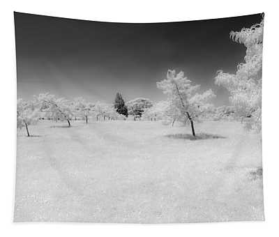 Infrared Peach Orchard Tapestry