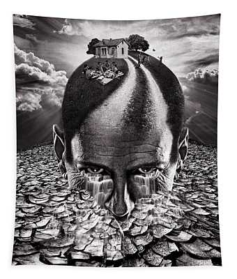 Inhabited Head Gray Scale Tapestry