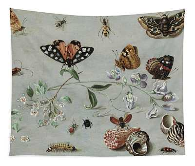 Insects, Butterflies And Clams Tapestry