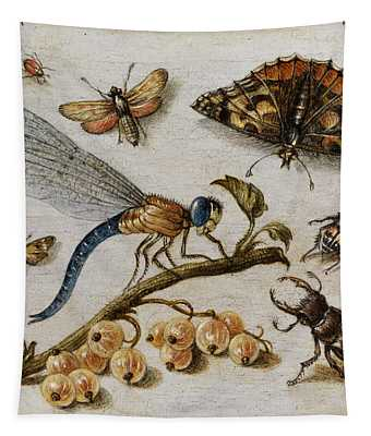 Insects, Currants And Butterfly Tapestry
