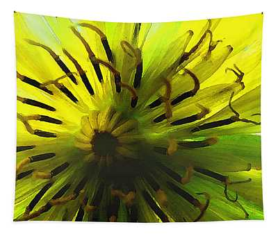 Tapestry featuring the digital art Inside A Yellow Goatsbeard  by Shelli Fitzpatrick