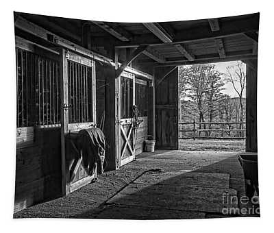 Inside The Horse Barn Black And White Tapestry