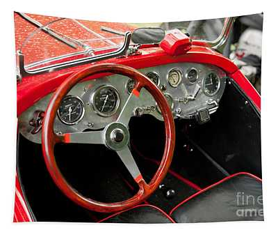 Interior Of Historic Red Classic Fiat Tapestry