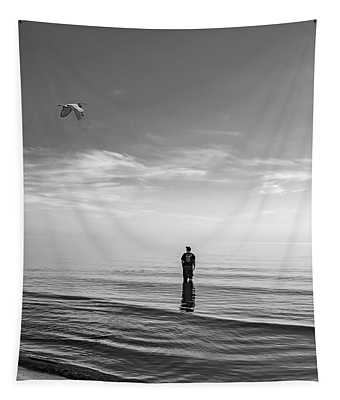 Into The Great Blue Yonder Bw Tapestry