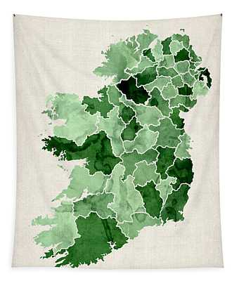 Ireland Watercolor Map Tapestry by Michael Tompsett
