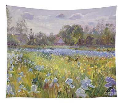 Iris Field In The Evening Light Tapestry