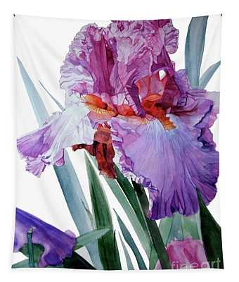 Watercolor Of A Tall Bearded Iris In Pink, Lilac And Red I Call Iris Pavarotti Tapestry