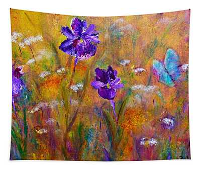 Iris Wildflowers And Butterfly Tapestry