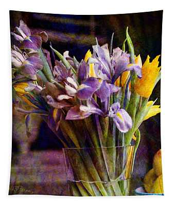 Irises In A Glass Tapestry