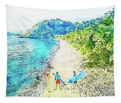 Island Surfers Tapestry