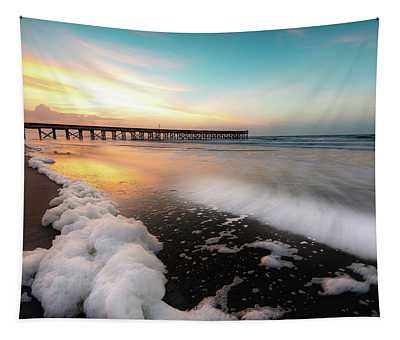 Isle Of Palms Pier Sunrise And Sea Foam Tapestry