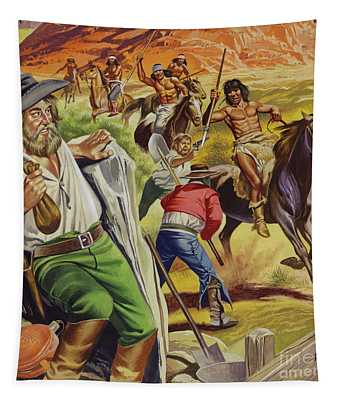 Jacob Waltz And His Friend Being Attacked By Apache Indians Tapestry