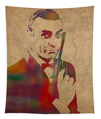 James Bond Sean Connery Watercolor Portrait Tapestry